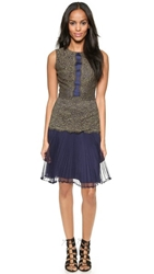 Marchesa Voyage Day Lace Panel Dress Khaki Navy