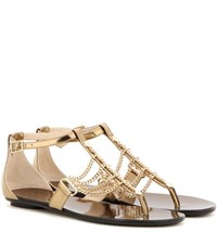 Jimmy Choo Wallace Flat Embellished Leather Sandals Gold