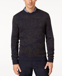 Tasso Elba Men's Faux Suede Elbow Patch Lux Sweater Only At Macy's Navy Sable Combo