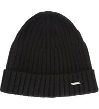 Hugo Boss T Benzo Ribbed Cashmere Wool Beanie Black