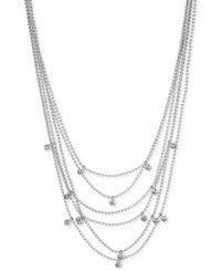 Kenneth Cole New York Silver Tone Multi Chain Beaded Crystal Layer Necklace