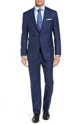 Hart Schaffner Marx Men's Big And Tall Classic Fit Plaid Wool Suit Med Blue