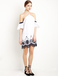 Pixie Market White Embroidered Detached Sleeve Dress