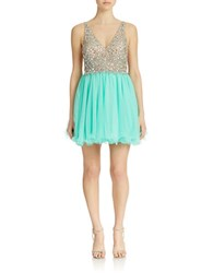 Betsy And Adam Embellished Short Cocktail Dress Nude Mint