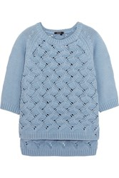 Raoul Open Knit Cotton Blend Sweater Blue