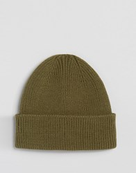 Asos Fisherman Beanie In Olive Olive Green