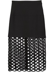 David Koma Layered Lace Skirt Black