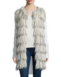 Tess Giberson For Neiman Marcus Cashmere Collectio Long Fringe Cardigan W Cashmere