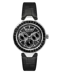 Versus By Versace Sertie Stainless Steel Black Leather Strap Multifunction Watch Sos020015