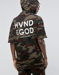 Hand Of God Camo Hoodie With Short Sleeves Khaki Green