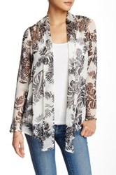 Zoa Printed Tie Front Cardigan White