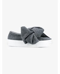 Joshua Sanders Bow Embellished Wool Felt Sneakers Grey White