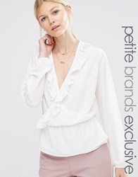 Alter Petite Wrap Front Long Sleeve Blouse With Ruffle Detail Cream