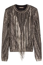 Roberto Cavalli Cotton Pullover With Leather Tassels Multicolor