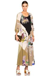 Etro Long Sleeve A Line Maxi Dress In Green Floral