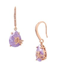 Betsey Johnson Cubic Zirconia Rose Goldtone Dragonfly Drop Earrings Purple