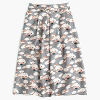 J.Crew Collection A Line Skirt In Dandelion Floral Storm Grey