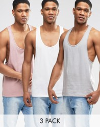 Asos Vest With Extreme Racer Back 3 Pack Save 22 Grey Pink Cream Multi