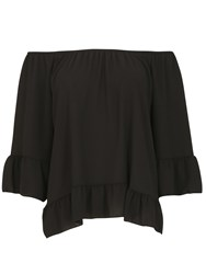 Izabel London Gypsy Style Feature Cuff Top Black