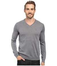 Calvin Klein Merino Moon And Tipped V Neck Sweater Albenga Men's Sweater Gray