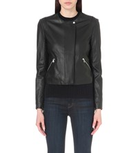 J Brand Woven Detail Leather Jacket Black