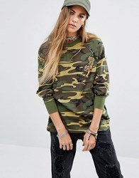 Reclaimed Vintage Souvenir Long Sleeve Top In Camo With Tiger Patches Camo Green