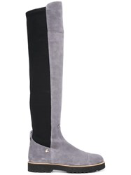 Hogan Contrast Panel Thigh High Boots Grey