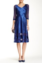 Komarov 3 4 Length Sleeve V Neck Tea Length Dress Blue