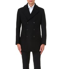 Armani Collezioni Double Breasted Wool And Cashmere Blend Coat Black
