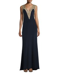 Carolina Herrera Sleeveless Embellished Mermaid Gown Dark Blue