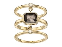 Cole Haan Three Piece Stone Ring Gold Golden Shadow Smokey Topaz Ring