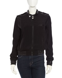 Fade To Blue Faux Leather Contrast Bomber Jacket Black