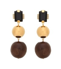 Marni Wood And Brass Clip On Earrings Brown