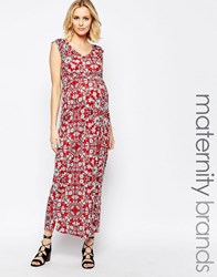 Mama Licious Mamalicious Floral Printed Jersey Maxi Dress With Cap Sleeve Multi