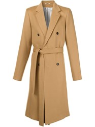 Ann Demeulemeester Double Breasted Overcoat Nude And Neutrals