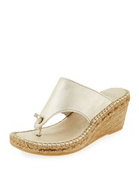 Andre Assous Alyssa Leather Wedge Sandal Gold