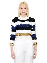 Sonia Rykiel Sequined Stripes Cropped Wool Sweater