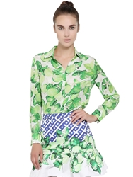 Isolda Printed Light Silk Crepe Shirt Green