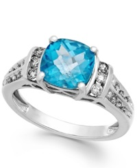 Macy's Blue Topaz 2 3 4 Ct. T.W. And Diamond 1 4 Ct. T.W. Ring In 14K White Gold