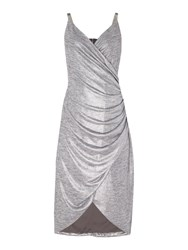 Episode Vneck Dress With Chian Straps Silver