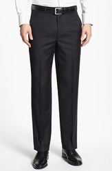Men's Santorelli Flat Front Wool Trousers Black