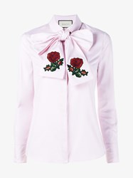 Gucci Poppy Embroidered Oxford Scarf Shirt Rose Pearl