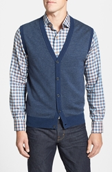 Toscano Button Front Sweater Vest Cosmo Blue