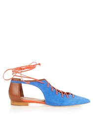 Malone Souliers Montana Lace Up Suede Flats Blue Multi