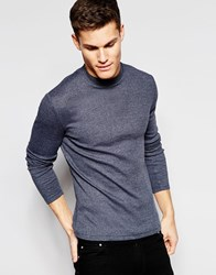 Asos Rib Extreme Muscle Long Sleeve T Shirt With Turtleneck In Navy Navy