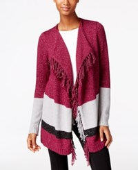 G.H. Bass And Co. Fringe Open Front Cardigan Plum Gem Combo