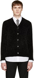Junya Watanabe Black And Silver Chenille Cardigan