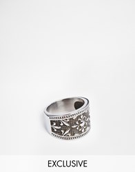 Reclaimed Vintage Carved Ring In Stainless Steel Silver