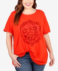 Lucky Brand Trendy Plus Size Embroidered Floral Circle Tunic Bright Red