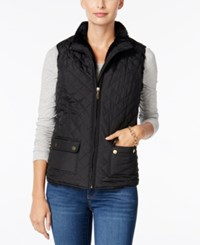 Charter Club Faux Fur Lined Puffer Vest Only At Macy's Deep Black